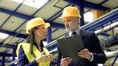 vezetés : Industrial man and woman engineers with clipboard in a factory, talking. Stock mozgókép