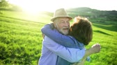 florescente : Senior couple kissing and hugging outside in spring nature at sunset. Stock Footage