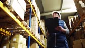 colete : Portrait of a senior male warehouse worker or a supervisor. Stock Footage