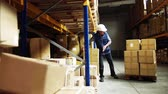 отправка : Senior male warehouse worker unloading boxes from a pallet truck. Стоковые видеозаписи