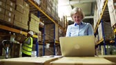 wysyłka : Senior woman manager with laptop and man worker working in a warehouse. Wideo
