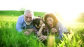 cabelos claros : Senior couple with granddaughter outside in spring nature, relaxing on the grass.