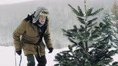 seasonal : Senior man getting a Christmas tree in forest.