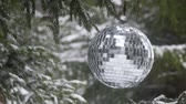 bola de natal : Mirror ball on the background of a winter forest