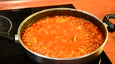 bolognese : Closeup of boiling Bolognese sauce in pan on kitchen stove. Stock Footage