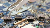 compêndio : Some computer USB port components over motherboard background Stock Footage