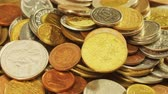 dimes : Golden different coins collection background rotating, loop ready