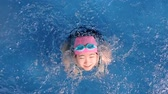 get in : Japanese girl playing in the swimming pool