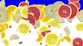 citrom és narancsfélék : Citrus Fruits falling down on white (ends on blue background)