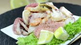 calamary : Portion of Mixed Seafood Salad (not loopable HD video)
