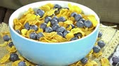 aveia : Portion of Cornflakes with Blueberries (loopable 4K UHD footage) Vídeos