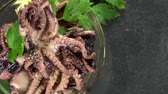 meal : Fresh made Octopus Salad (not loopable) as detailed 4K UHD footage