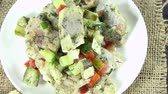em pé : Portion of homemade Herring Salad (loopable) as 4K UHD footage