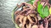 squid tentacles : Seamless loopable Octopus Salad as detailed 4K UHD footage Stock Footage