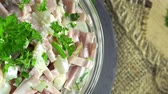 meal : Portion of rotating Meat Salad (not loopable 4K UHD footage) Stock Footage