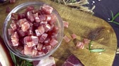 bacon cube : Portion of Ham Cubes (seamless loopable 4K UHD footage)