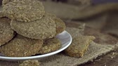 flavour : Rotating Oat Cookies not seamless loopable 4K footage Stock Footage