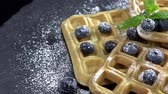 belga : Portion of fresh made Waffles with Blueberries seamless loopable, 4K Vídeos