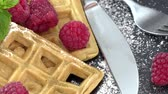 opłatek : Portion of fresh homemade Waffles with Raspberries not loopable, 4K