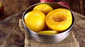przetwory : Seamless loopable preserved Peaches as detailed 4K UHD footage