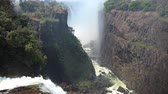işe : Victoria Falls (filmed from Zimbabwe) as detailed 4K UHD footage Stok Video