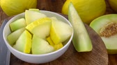 keser : Honeydew Melon (chopped) as seamless loopable rotating 4K UHD footage