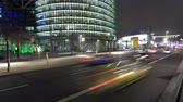 district : berlin business district city traffic time lapse at night