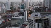 Panama City, Panama - March 2018: Cars on busy street  city traffic Aerial view of Panama City