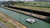 panama city : Sailing boat on Panama Canal, Miraflores Locks, Panama City Stock Footage