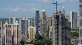 panama city : skyscraper building skyline - Panama city cityscape, aerial Stock Footage