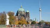 Berlin landmarks, TV tower and Berlin Cathedral on a sunny day