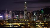 Виктория : City lights and skyline of HongKong Island with illuminated skyscrapers at ni