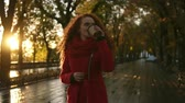 take away : Red haired woman walking on a city park. Cold weather, she wears red colored coat and knitted scarf. Long haired beautiful, smiling girl drinks coffee from to go cup. Lens flares, golden sunlight. Front view Stock Footage