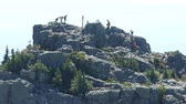 A shot of a bunch of hikers and mountain climbers arriving at the top of a mountain peak on a beautiful summer day. Stok Video