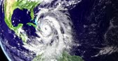 климат : Hurricane above Caribbean, approaching Florida, USA, satellite view. 3D animation. Стоковые видеозаписи