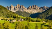val di funes : Timelapse of famous scenic view in Italian Dolomites as sunny summer day turns into dark starry night