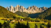 val di funes : Timelapse video of scenic village St Magdalena in Italian Alps on summer evening