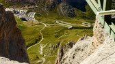 passo : Timelapse of Pordoi Pass in the Italian Alps, famous tourist destination on sunny summer day.