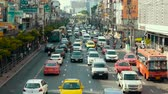 bike ride : Thailand Bangkok November 20 2016 Street traffic multi-storey intersection of the surface subway. The movement of public transport and cars. Stock Footage