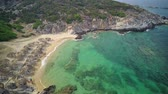 mediterranean sea : Beautiful beach aerial shot, Sithonia, Greece