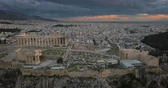 Aerial view of Acropolis of Athens at sunset, Greece Stock Footage