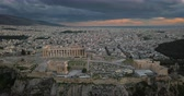 Aerial view of Acropolis of Athens at sunset Stock Footage