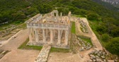 Aerial view of ancient temple of Afea Aphaia on Aegina island Stock Footage