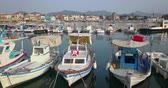 Aerial view of greek port of Aegina at sunset, Greece Stock Footage
