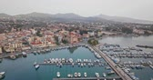 Aerial view of greek town Aegina, port of Aegina, Greece