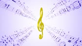 nota : Rotating violin clef against moving purple music sheets notes, seamless loop