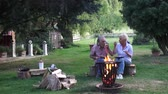 bagietka : Romantic campfire atmosphere and a happy couple are making the most of a nice evening in the garden Wideo