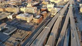 quadcopter : Aerial view of the american city at dawn. High-rise buildings, freeway, bay. Sunny morning. Milwaukee, Wisconsin, USA