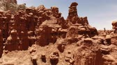 rocks nger : Hoodoos in Goblin Valley State Park, Utah, United States. Desert. Hoodoo rocks located along the San Rafael desert. Aerial view, from above, drone shot