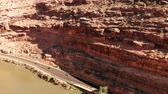 climate : The City of Moab Utah, United States. Red rock landscapes, Colorado River. Aerial view, from above, drone shot